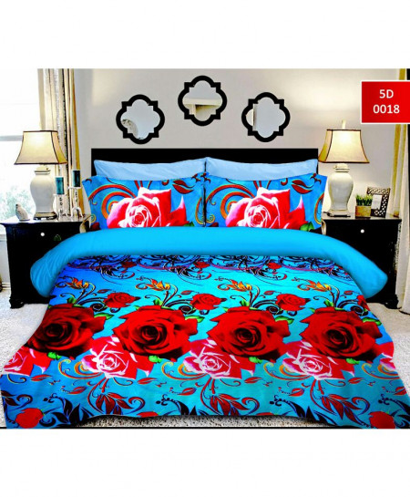 5D Emerald Red Rose Cotton Satin Bedsheet RB-7062