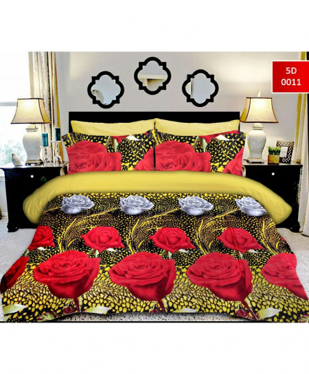 5D Khaki Red Rose Cotton Satin Bedsheet RB-7063