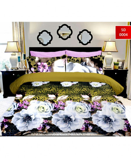 5D Khaki White Flower Cotton Satin Bedsheet RB-7064