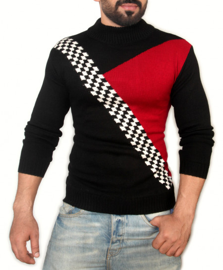 Black Red Mock Neck Sweater SPK-009