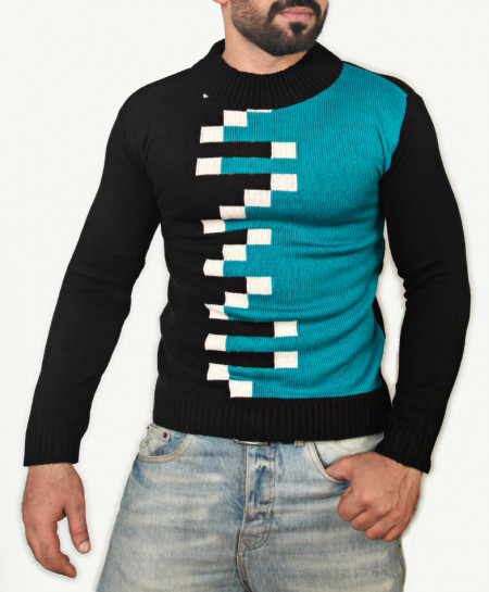 Black Sea Green Mock Neck Sweater SPK-012