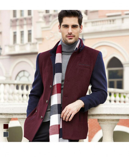 Maroon And Navy Blue Wool Winter Coat for Men SPK-026