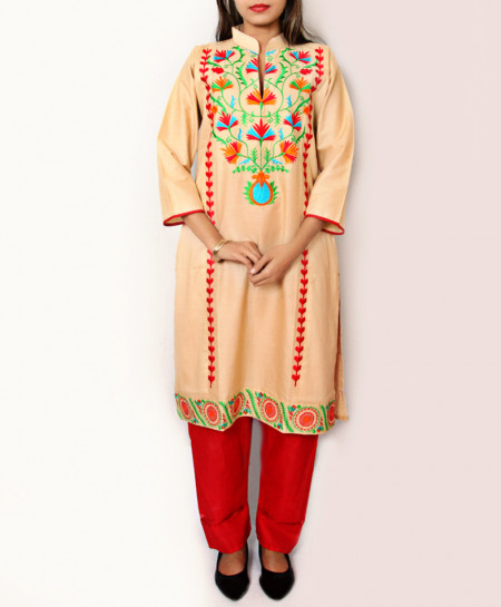 Beige Embroidered Design Ladeis Suit AKG-163