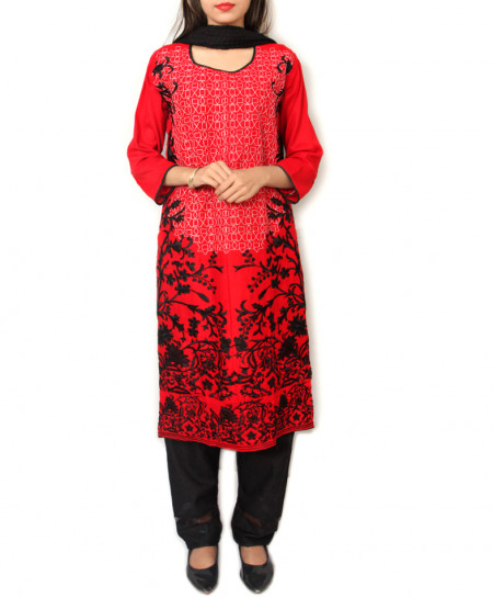 Blackish Red Embroidered Design Ladeis Suit AKG-164