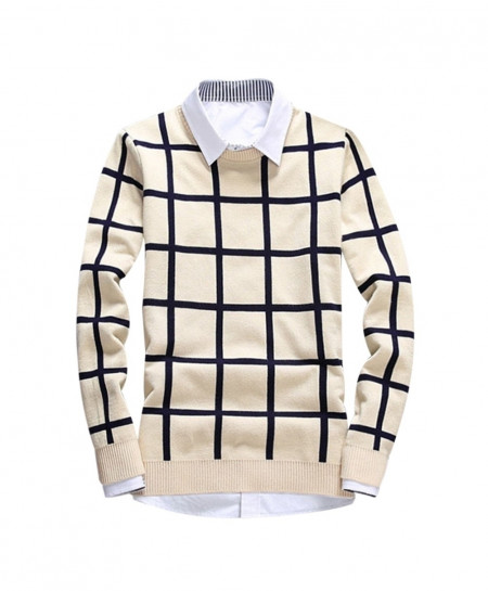 Beige Pullovers Plaid Slim Fit Sweater