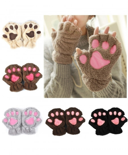 Pack of 3 Pair Cat Claw Paw Mitten Plush Gloves