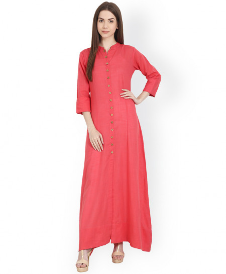 Fuschia Long Button Style Ladies Kurti ALK-851