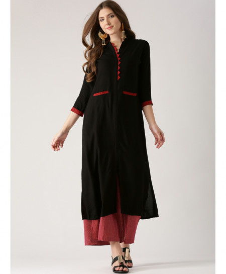 Black Tipping Pocket Style Ladies Kurti ALK-853