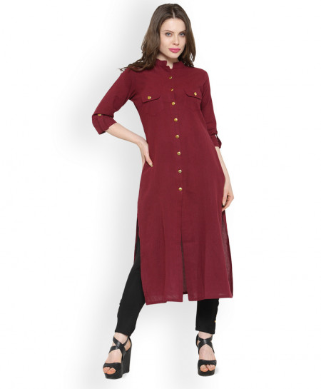 Maroon Dual Pocket Style Ladies Kurti ALK-854