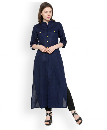 Navy Blue Dual Pocket Style Ladies Kurti ALK-855