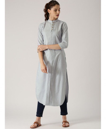 Silver Grey Thread Pleated Style Ladies Kurti ALK-856