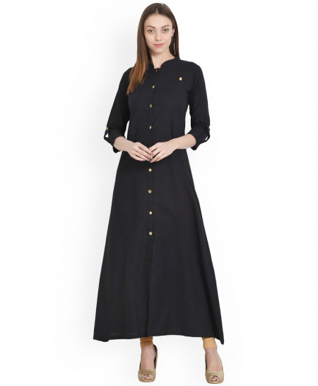 Black Long Button Frock Style Ladies Kurti ALK-858