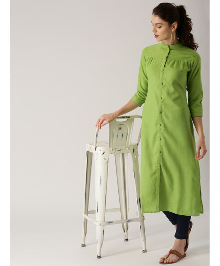 Lime Long Button Pleated Style Ladies Kurti ALK-859