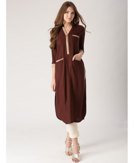Choco Brown Tipping Pocket Style Ladies Kurti ALK-860