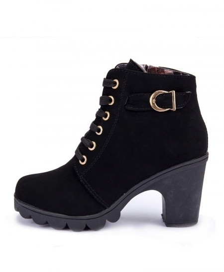 Black Lace-up European Ladies High Heels Boots