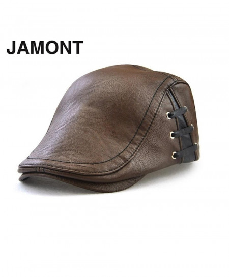 JAMONT Brown Berets PU Leather Hat Flat