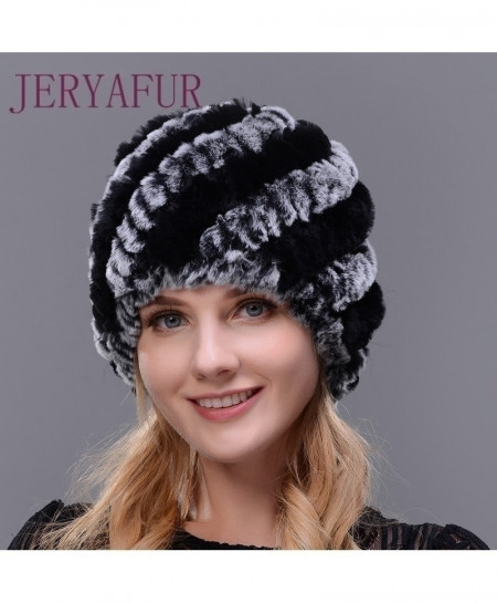 Knitted Rex Rabbit Fur Hat Winter Lady Floral Cap