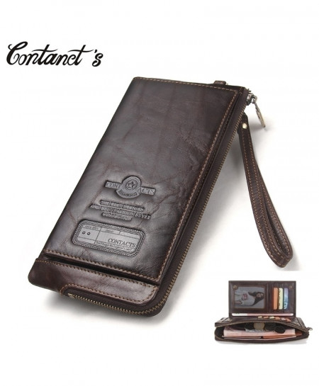 Contacts Choco Brown Leather Wallet