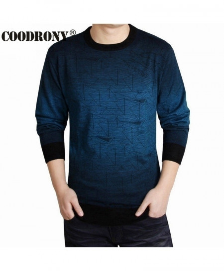 COODRONY Blue Contrast Print Wool Pullover Sweater