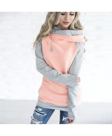ELSVIOS Pink Side Zipper Double Hood Sweatshirt