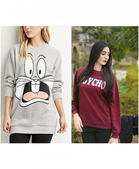 Pack Of 2 Ladies Sweat Shirt Fleece Tops FSF-029