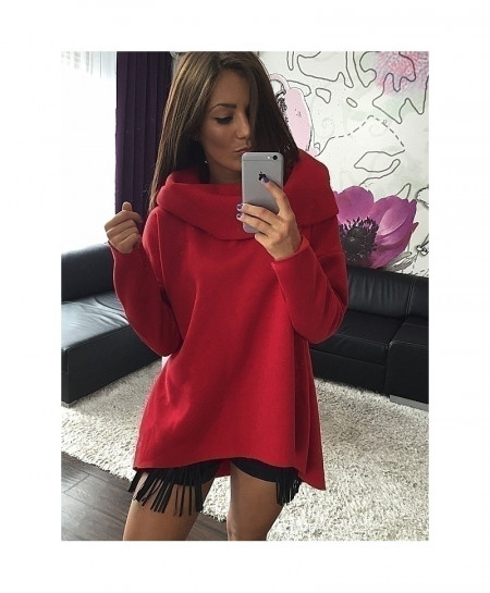 Kaywide Red Scarf Collar Hoodies