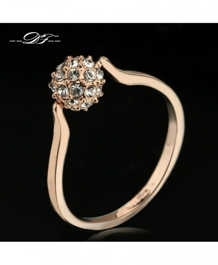 Crystal Ball Design Rose Gold Ring