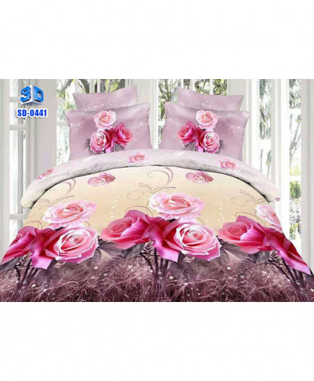 3D Peach Lilac Floral Stylish Cotton Bedsheet SD-0441