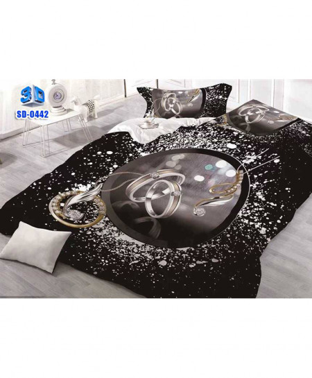 3D Black Ring Stylish Cotton Bedsheet SD-0442
