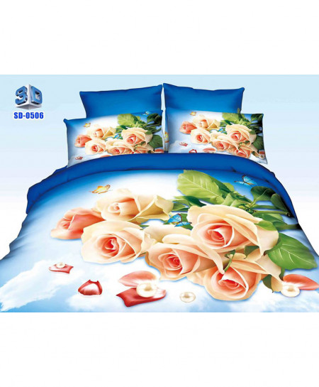 3D Royal Peach Floral Stylish Cotton Bedsheet SD-0506