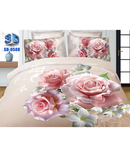 3D Baby Pink Floral Stylish Cotton Bedsheet SD-0508