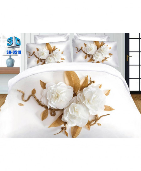 3D White Floral Stylish Cotton Bedsheet SD-0519