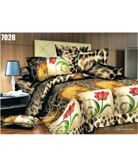 3D Smoke Khaki Floral Stylish Cotton Bedsheet SN-7028