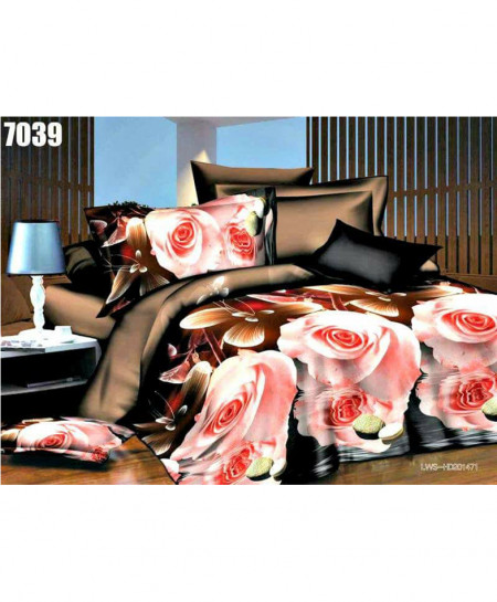 3D Peachy Coffee Floral Stylish Cotton Bedsheet SN-7039