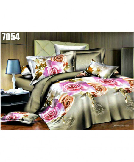 3D Silver Grey Floral Stylish Cotton Bedsheet SN-7054