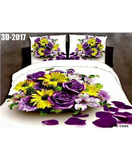 3D Off White Floral Stylish Cotton Bedsheet SN-2017