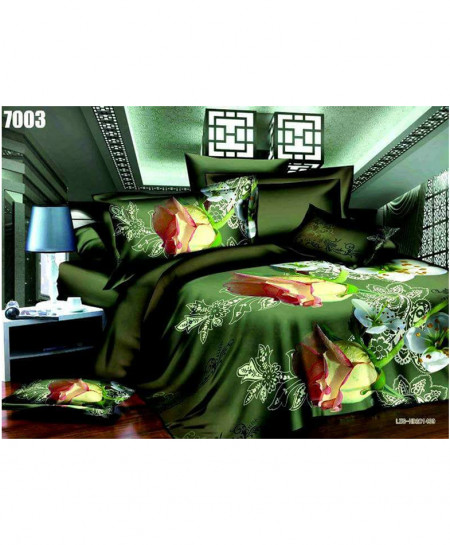3D Olive Green Floral Stylish Cotton Bedsheet SN-7003
