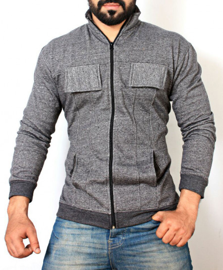 Grey Fleece Zipper Mock Neck Jacket ABSG-032