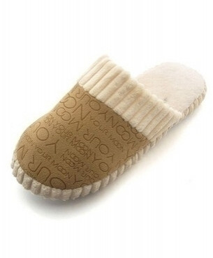 HUANQIU Brown Cotton Padded Warm Indoor Slippers