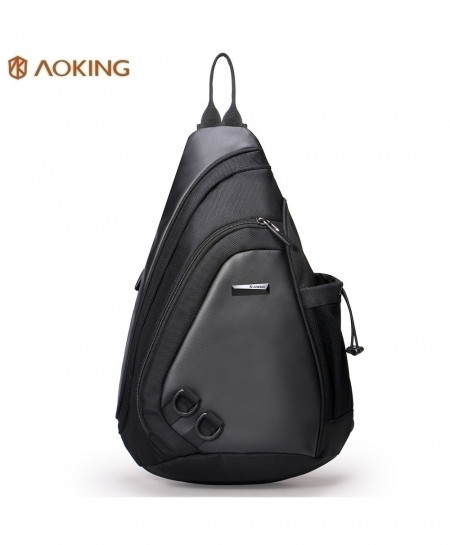 Aoking Black Chest Waterproof Crossbody Back Pack Bag