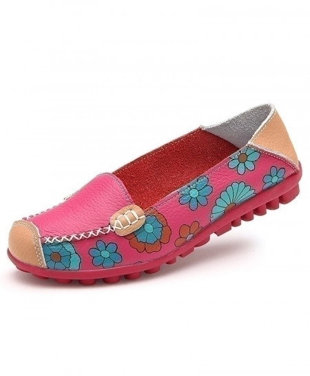 Pink Muscle Ballet Flower Print Leather Ladies Flat Shoes AT-5891