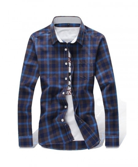 Multi Colors Blue Checkered Plaid Shirt