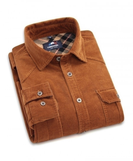 Langmeng Brown Corduroy Flannel Shirt