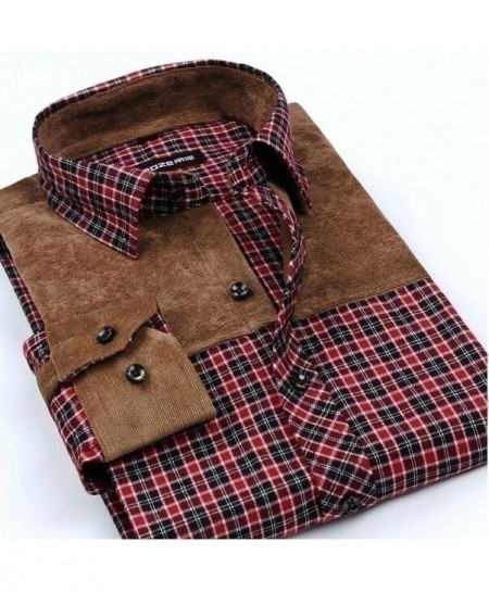 Khaki Red Checkered Patchwork Plaid Brushed Flannel Slim Fit Shirt