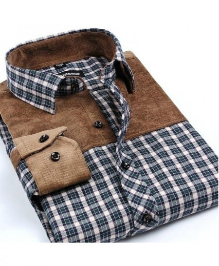 Khaki Checkered Patchwork Plaid Brushed Flannel Slim Fit Shirt