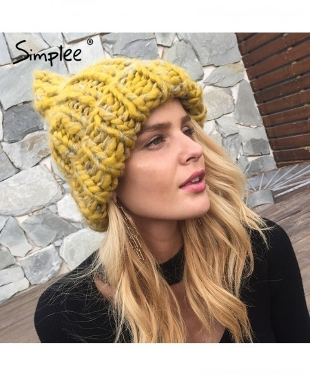 Buy Simplee Yellow Knitted Wool Skullies Beanies Cap online in ... f8914a28475