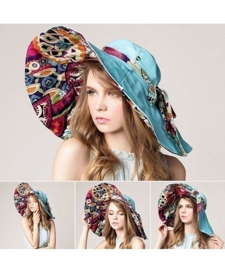 AETRENDS Sky Blue Flower Foldable Brimmed Sun Hat