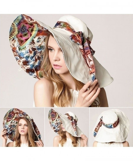 AETRENDS White Flower Foldable Brimmed Sun Hat