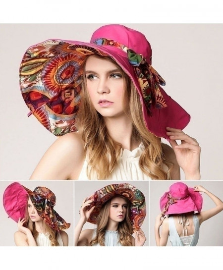 AETRENDS Rose Pink Flower Foldable Brimmed Sun Hat