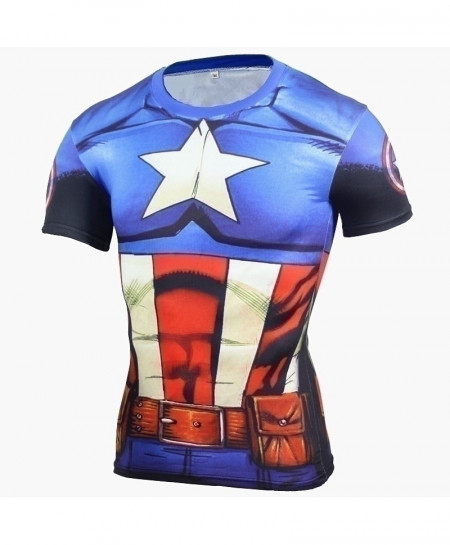 Comic Captain America Superhero Fitness T-Shirt